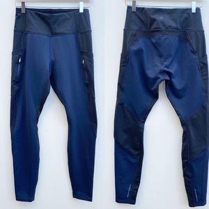 Athleta   Black/Blue High Traverse Tight Leggings
